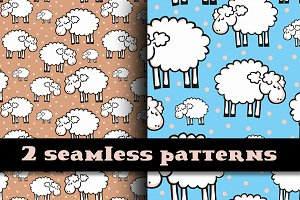 Cut sheeps seamless pattern