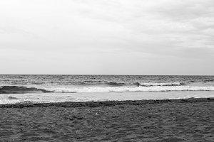Mediterranean Beach in Black White