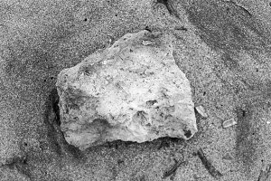 Stone in the Sand in Black and White
