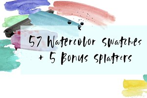 57 Watercolor Swatches + 5 Splatter