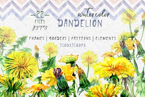 Bright yellow dandelion PNG set