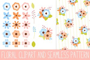 Spring Floral Clipart & Pattern