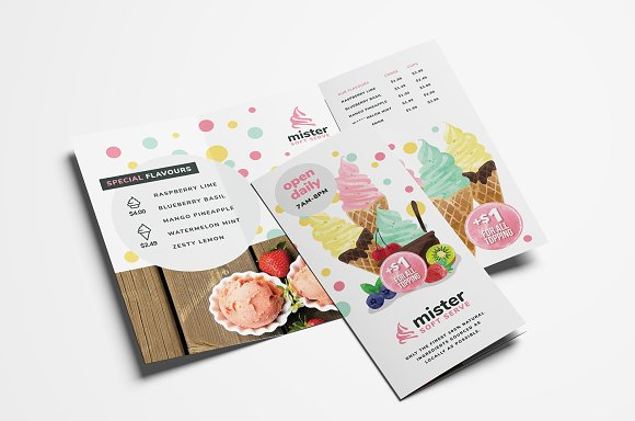 ice cream shop trifold menu template brochure templates creative