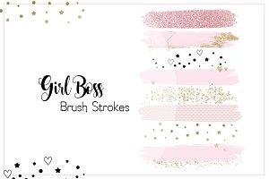 """Brush Strokes """"GirlBoss"""" Black Pink"""