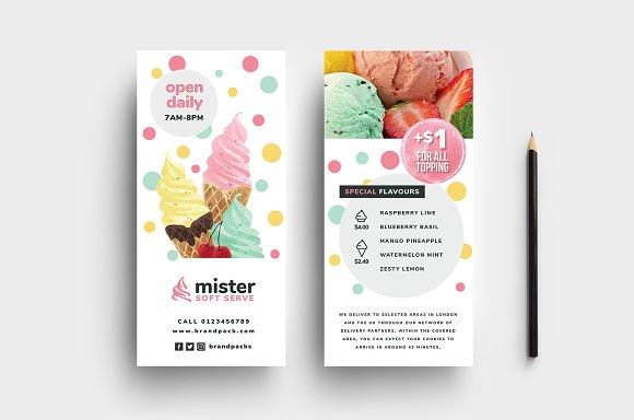 ice cream shop dl card template card templates creative market