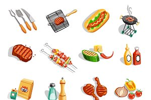 Summer barbecue party flat icons