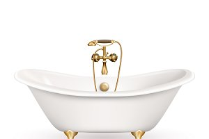 Realistic retro bathtub