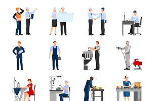 Different factory workers icons