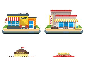 Colorful cafe buildings icons set