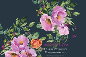 Watercolor Wild Roses Clip Art