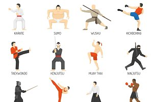 Martial arts decorative flat icons