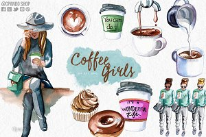 Coffee girl watercolor clip art