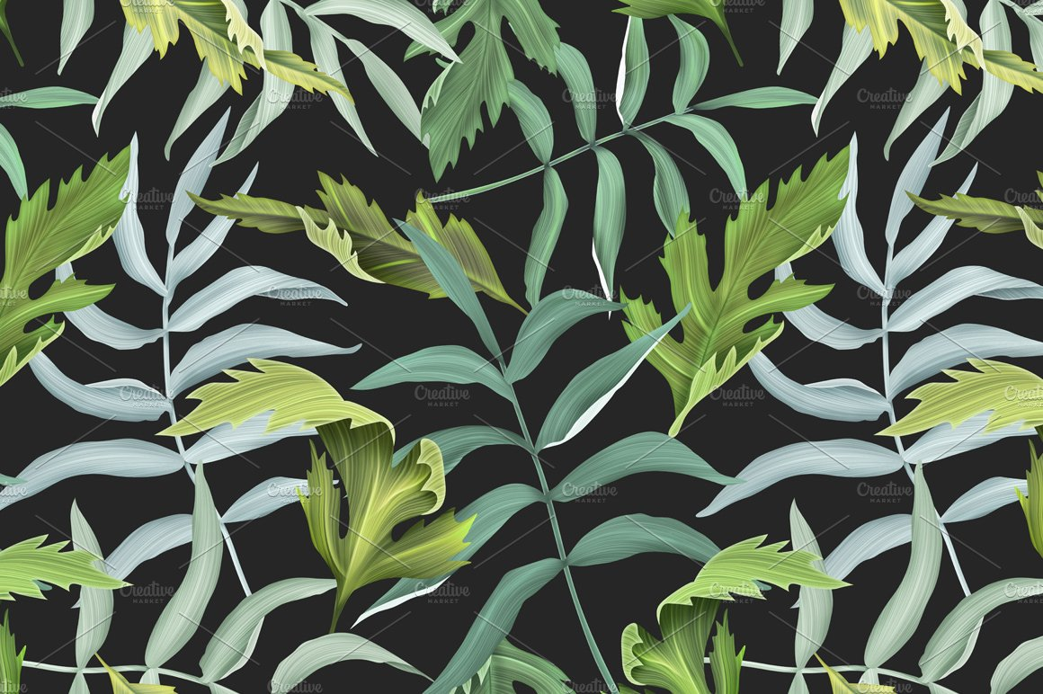 Tropical Pattern Jungle Palm Leaves Graphic Patterns Creative Market