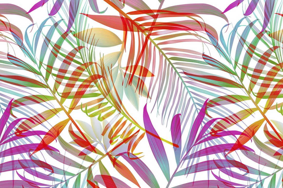 Tropical pattern. Jungle palm leaves ~ Graphic Patterns ~ Creative Market