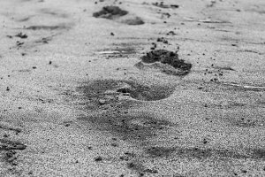 Barefoot in the Sand in Black White