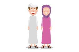 ramadan kareem card with islamic couple characters