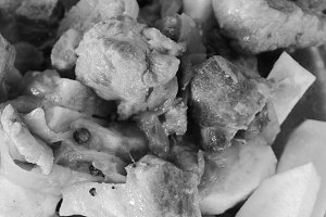 Chips and Meat in Black and White