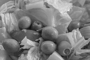 Olive Salad in Black and White