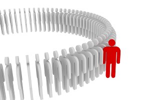Red person standing out from the crowd. Human concept, 3d illustration
