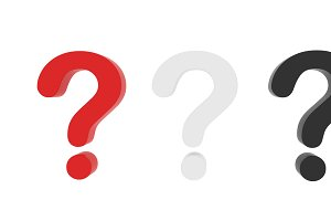 Set of question marks on white background, clipping path inside . 3d illustration
