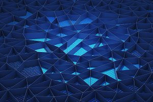 Blue walls background for technology concept, 3d illustration