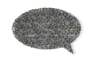 Large group of people forming a speech bubble symbol on white, social media concept. 3d illustration