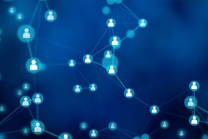 People connection lines on blue background, social network for technology concept, abstract illustration