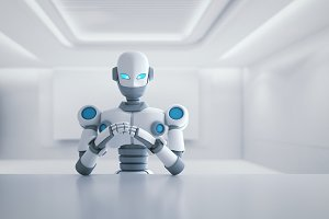 Robot sitting in front of empty table, artificial intelligence in futuristic technology concept, 3d illustration