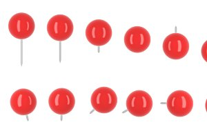 Collection of various red push pins. Thumbtacks on white background, 3d illustration