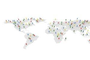 Colorful push pins, thumbtacks on world map, 3d illustration