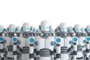Group of robot on white, artificial intelligence in futuristic technology concept, 3d illustration