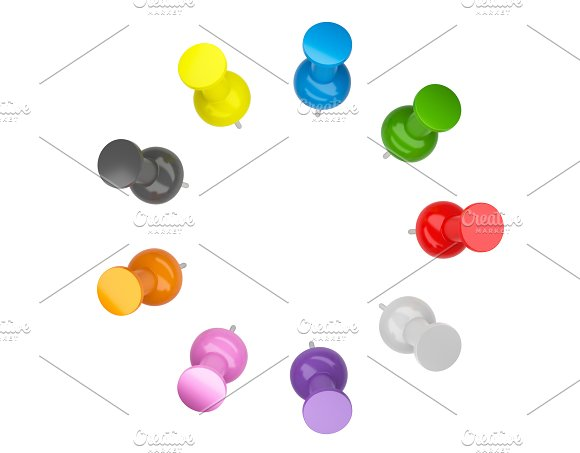 colorful push pins thumbtack isolated on white background 3d