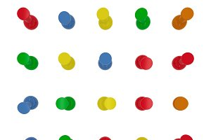Thumbtacks, set of push pins in different colors. Top view. 3d illustration. Isolated on white background.