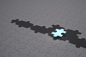 Leadership and teamwork conceptual background, Blue jigsaw puzzle pieces with one piece glowing, 3d illustration
