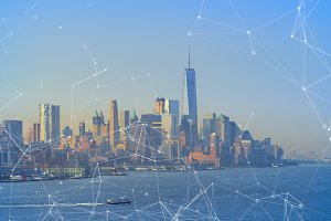 Global business and network connection concept in New York City Manhattan skyline, USA