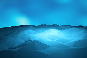 Abstract triangle geometric, blue ice mountain shape on blue background, 3d render