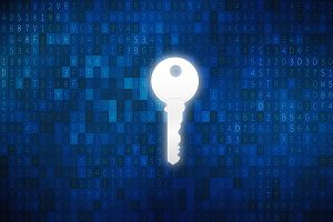 Key in keyhole with digital abstract technology background in security concept, illustration