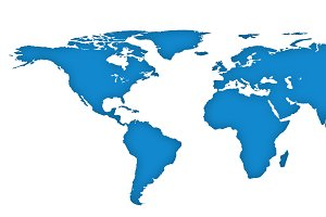 Blue drawing outline world map isolated on white background. Infographic illustration