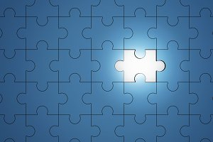 Blue jigsaw puzzle pieces with one piece glowing, 3d illustration