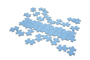 Blue jigsaw puzzles disrupted and separated with a row for copy space on white, 3d illustration