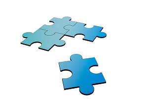 Blue jigsaw puzzles disrupted and separated on white, 3d illustration