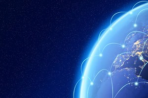 Planet earth, Internet Concept of global business, connection symbols communication lines, Elements of this image furnished by NASA