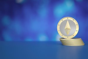 Stack of Ethereum coins on blue background to illustrate blockchain and cyber currency