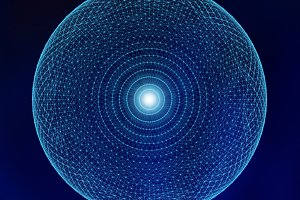 Blue sphere and lines in technology concept, abstract illustration