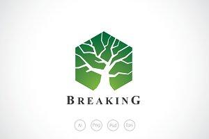 Breaking Glass Tree Logo Template