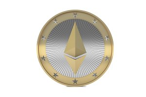 Ethereum coin isolated on white background, 3d render