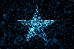 Star on blue background in the form of artificial intelligence in technology concept