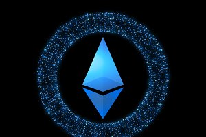 Digital currency Ethereum. Cryptocurrency icon. Symbol of smart technologies on black background