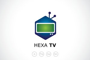 Hexagon TV Logo Tempalte