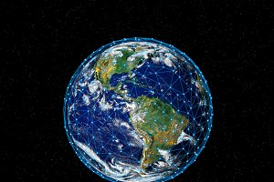 Planet Earth with stars, globe model isolated on black. Elements of this image furnished by NASA